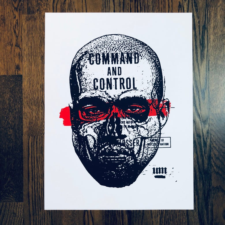 "Image of YE - ""Who's controlling who?"" Screen-print."