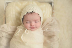 Image of RTS - Angelina NB Bonnet in Baby Camel, Cream and Cafe Au Lait