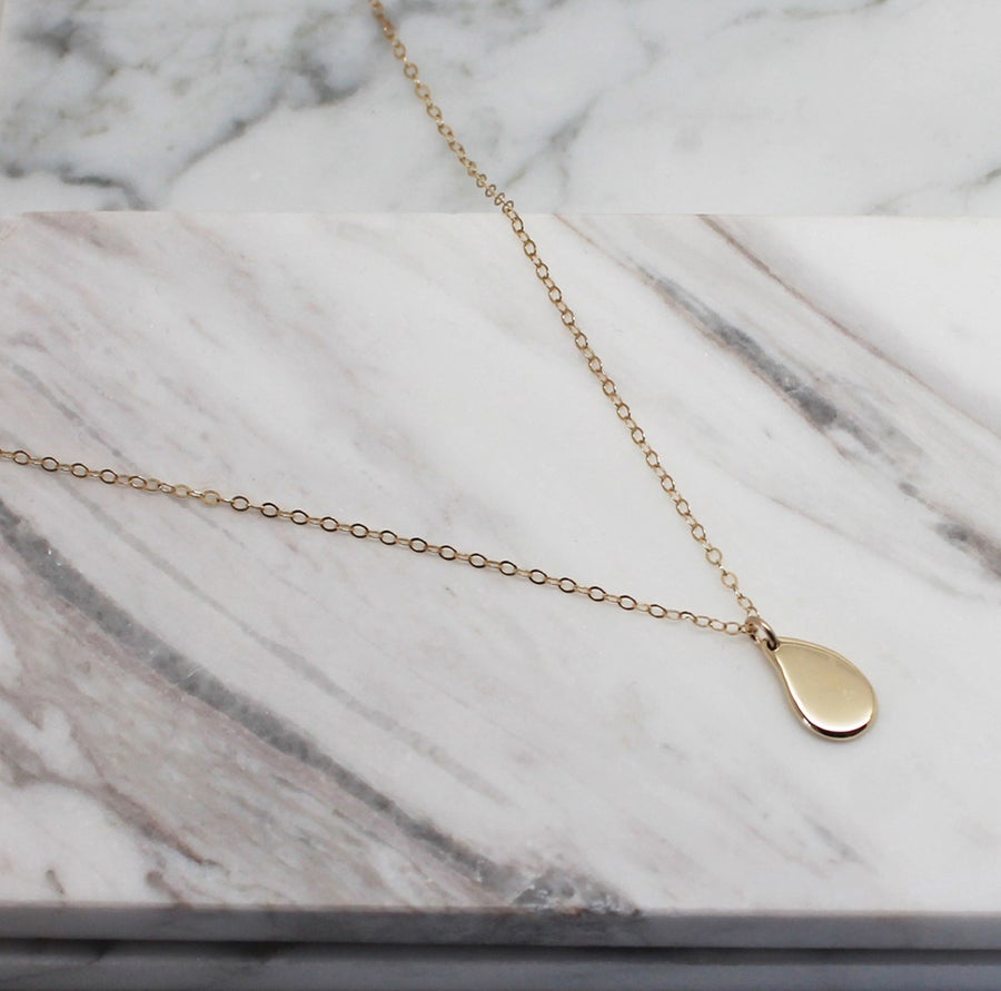 "Image of ""Little"" Drop 9K yellow gold Pendant Necklace"