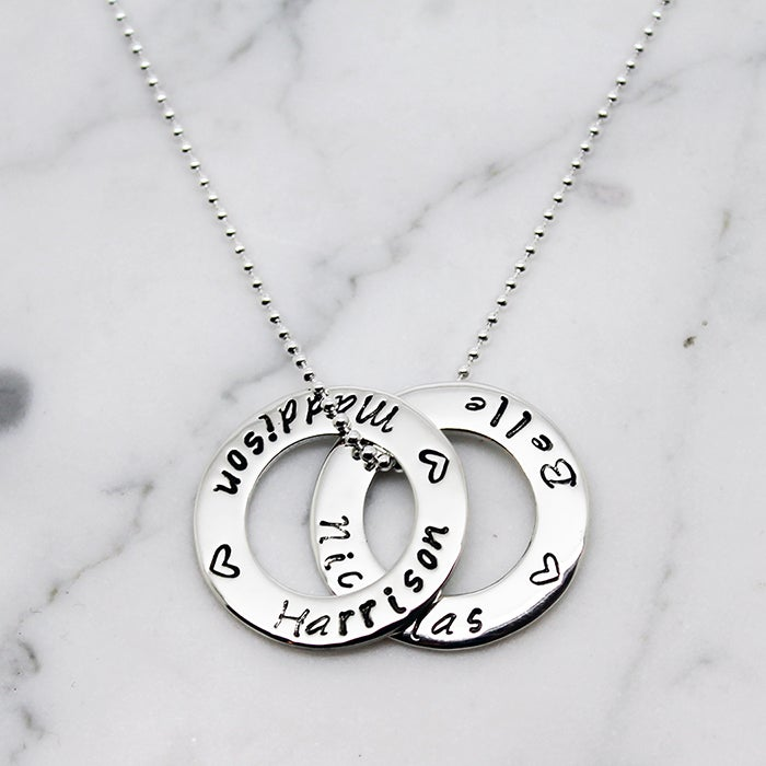 Image of DOUBLE SMALL CIRCLE OF LOVE STERLING SILVER NECKLACE
