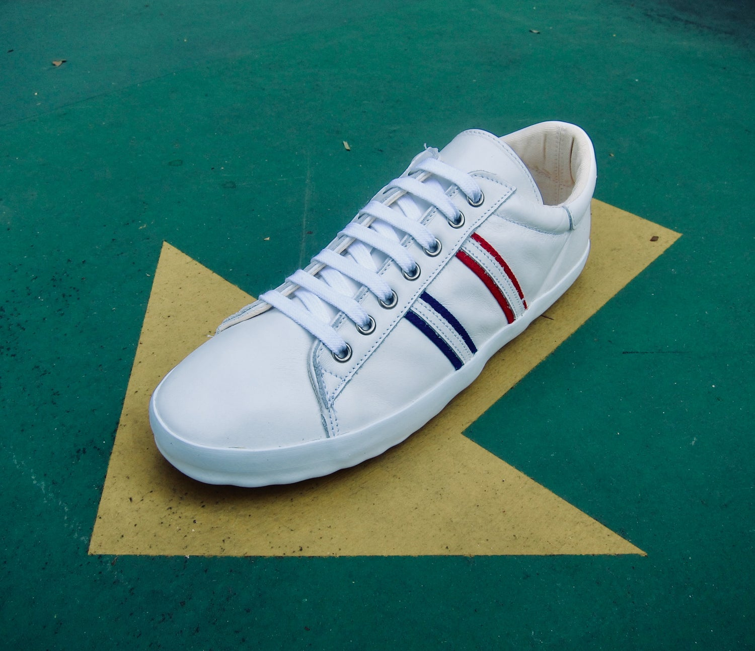 Image of ALLX X QUARTER416 store plimsoll white leather sneaker shoes special collabo