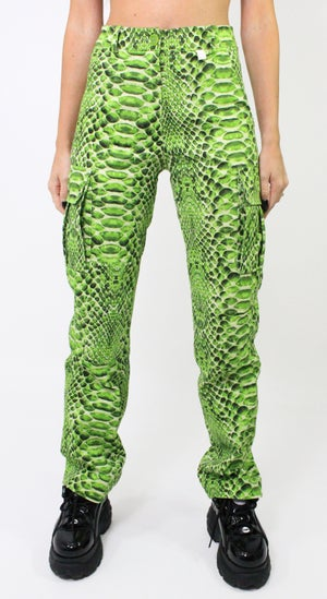 Image of Snakeskin Cargo Pants - Green