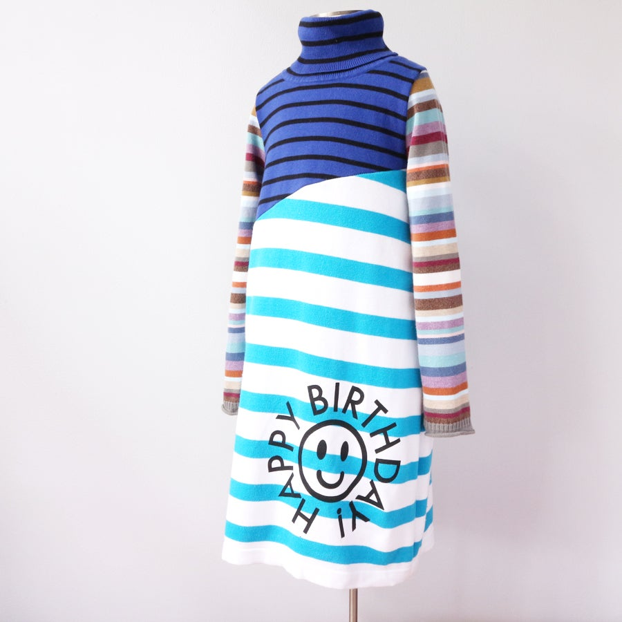 Image of birthday dinner 6/7 blue blues stripes happy bday cotton mix sweater turtleneck dress
