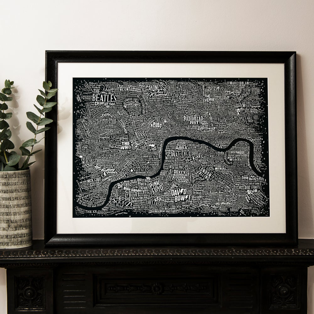 Image of Music Map Of London (Black)
