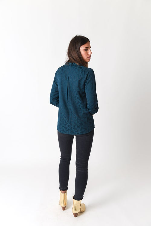 Image of BLOUSE GINA VOLANTEE - VERT FONCE