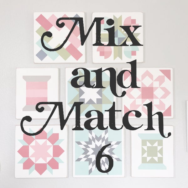 Image of SET of 6 - MIX AND MATCH - B&C Wood Barn Quilts