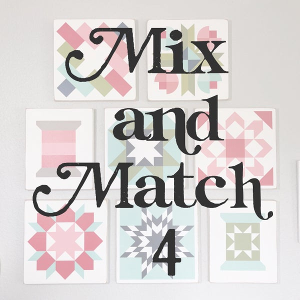 Image of SET of 4 - MIX AND MATCH - B&C Wood Barn Quilts