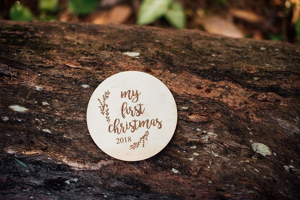 Image of ETCHED 'MY FIRST CHRISTMAS 2018' MILESTONE