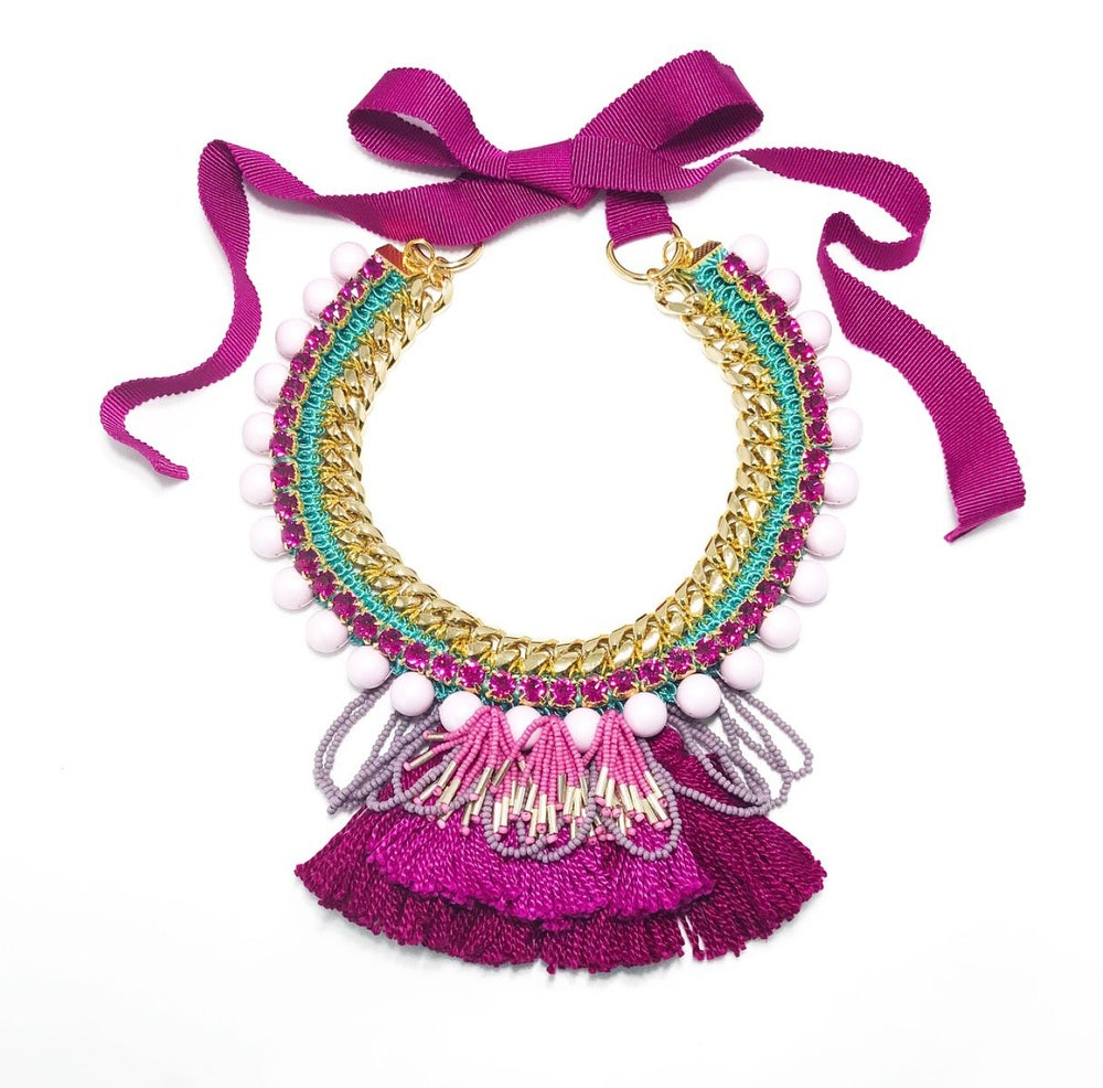 Image of Magenta Tassel Necklace