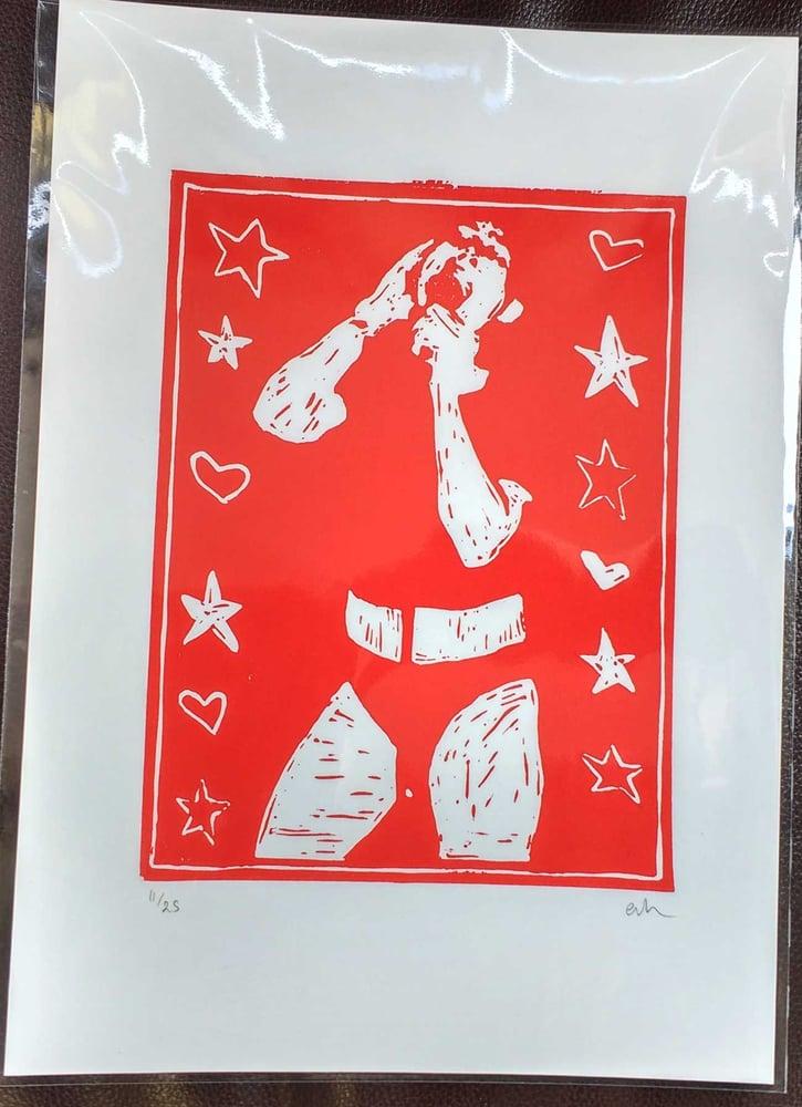Image of EMMA HARVEY - Bikini Kill hand-finished limited edition linoprint (25)