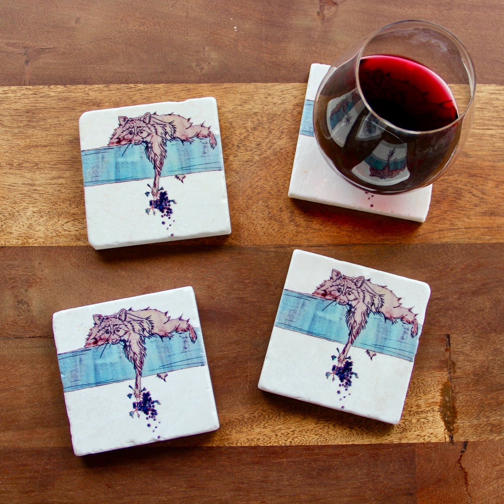 Image of Drunk Raccoon Coaster (set of 4)