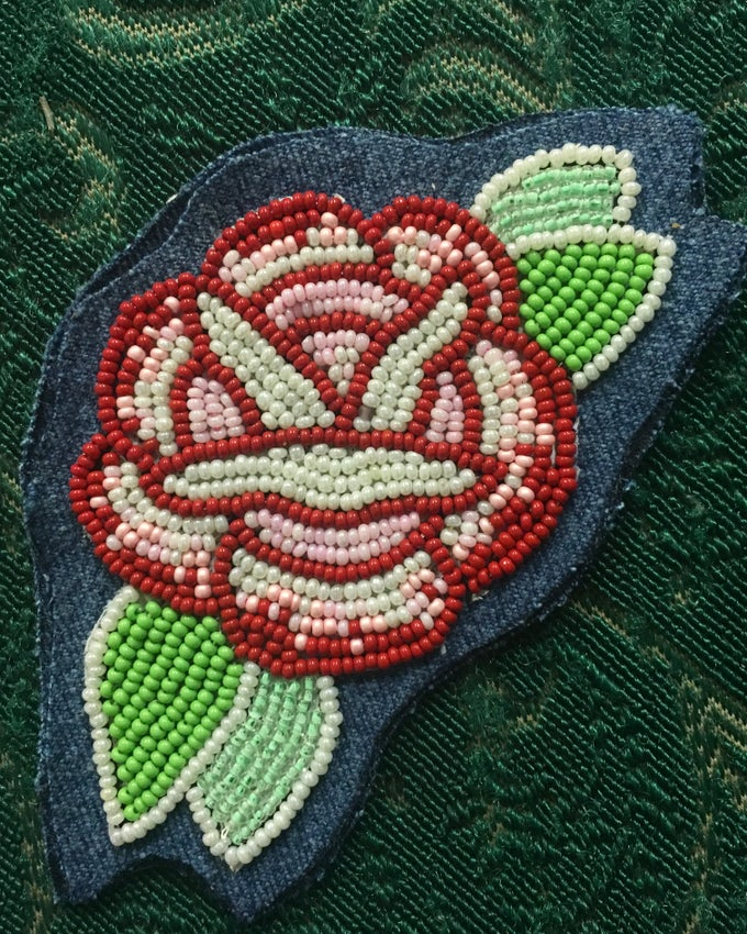 Image of beaded rose patch