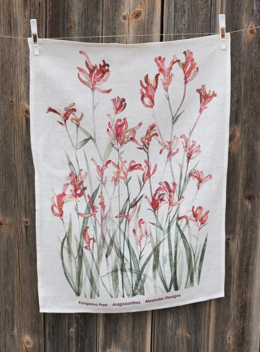 Image of Kangaroo Paw Dusky Rose Linen Tea Towel