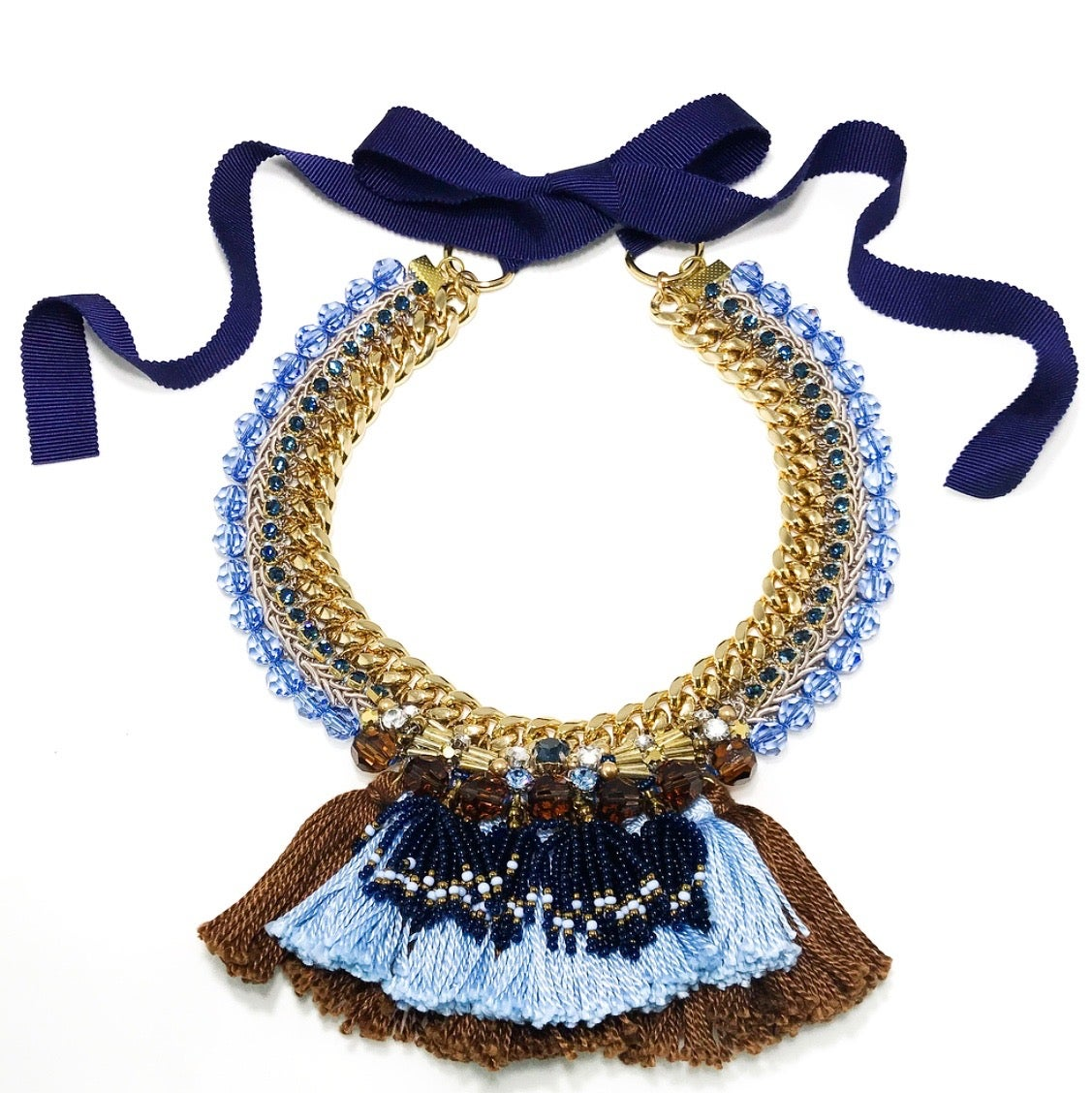 Image of Blue+Brown tassels Necklace