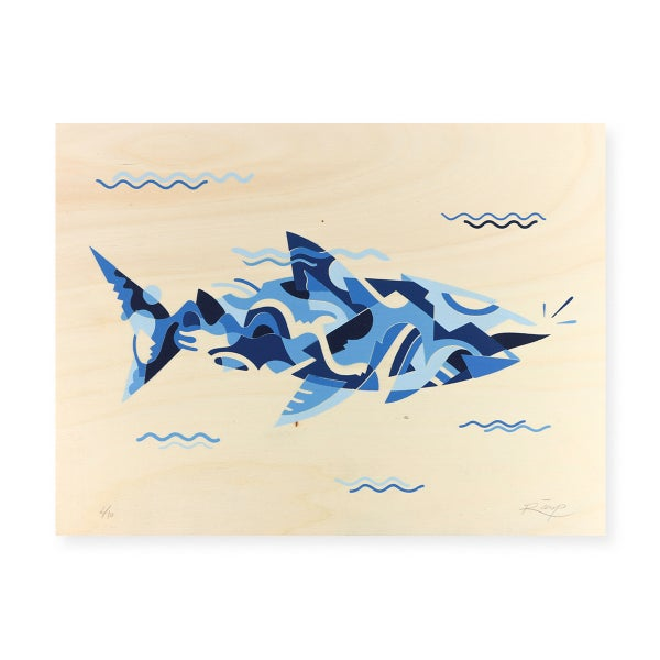 Image of Blue Shark stencil - 40 x 30 cm