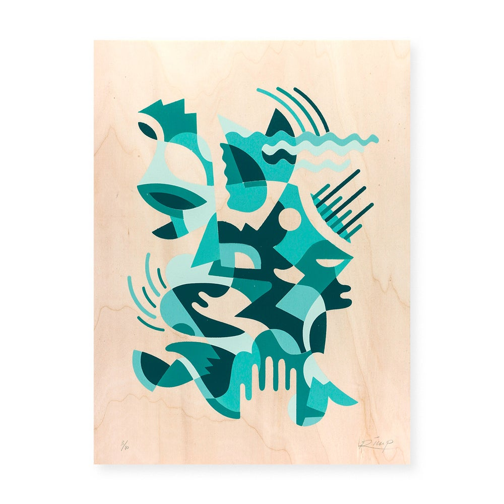 Image of Turquoise hand stencil - 30 x 40 cm