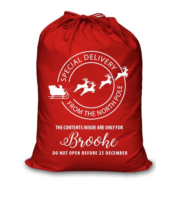 Image of Personalised Christmas Santa Sack - 'Special Delivery' - Red