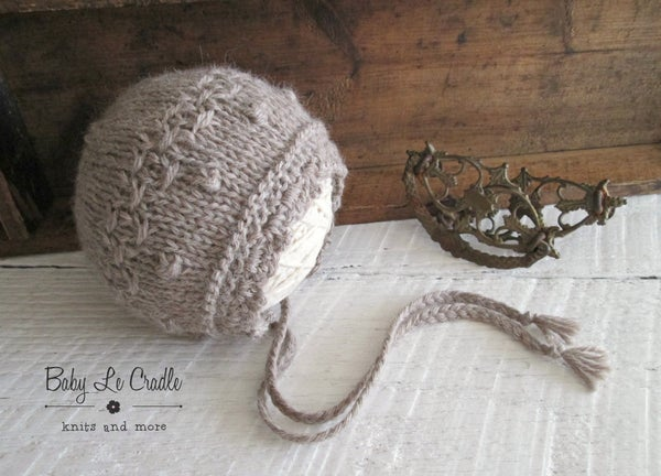 Image of RTS - Eco Victorian Harper NB Bonnet with Bobbles - Cafe Au Lait