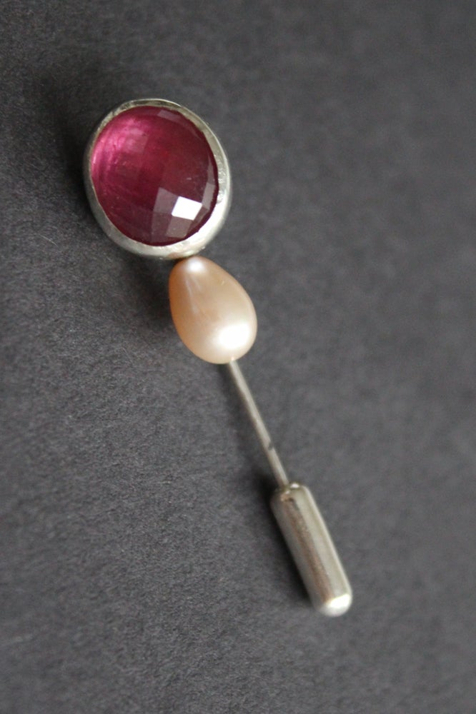 Image of Ruby and pearl pin
