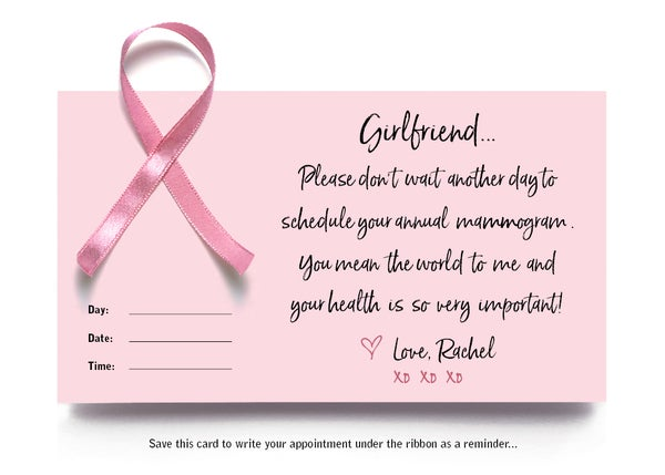 Image of Mammogram Reminder Notecard