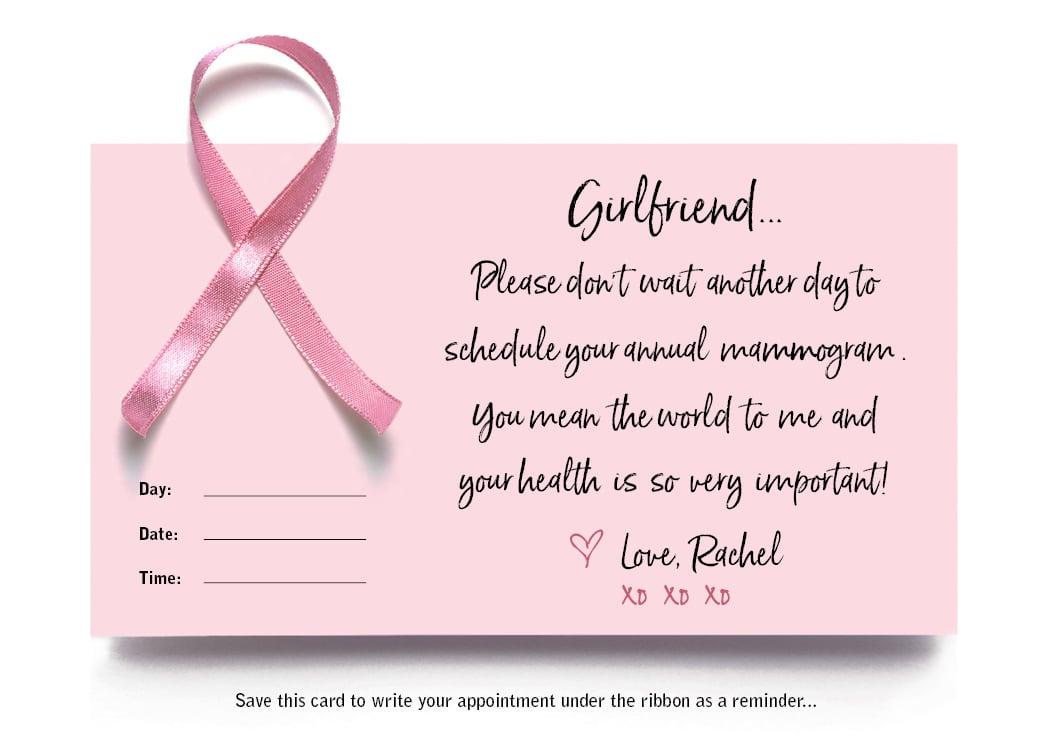 Mammogram Reminder Notecard