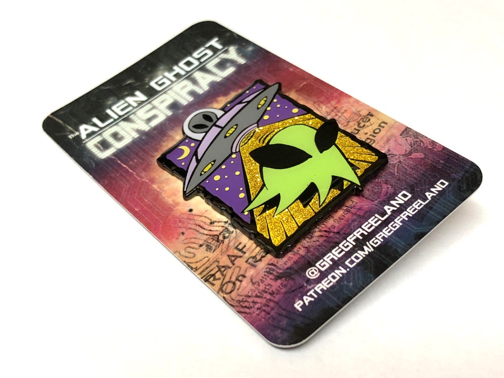 "Image of ""The Alien Ghost Conspiracy!"" Glow-In-The-Dark Enamel Pin"