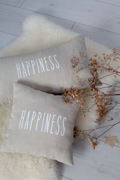 Image of Coussin lin lavé naturel HAPPINESS (CSS1HAPPINESS)