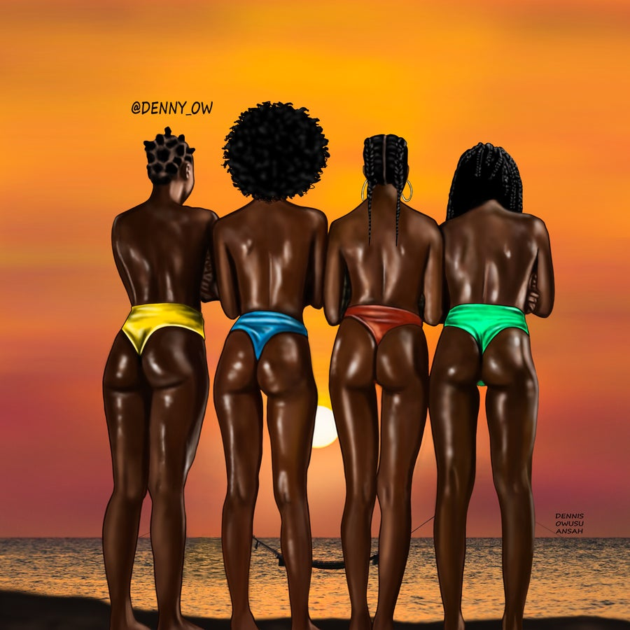Image of SUNSET ON MELANIN Stretched Canvas Print 24 x 30