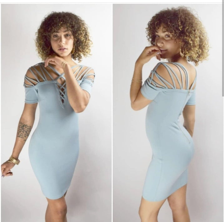 Image of Blue Fitted Dress