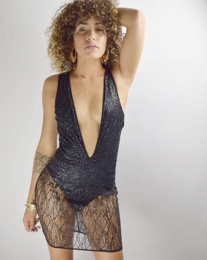 Image of Mesh Bodysuit Suit Dress