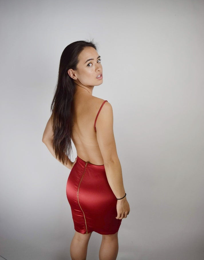 Image of Satin Pencil Dress