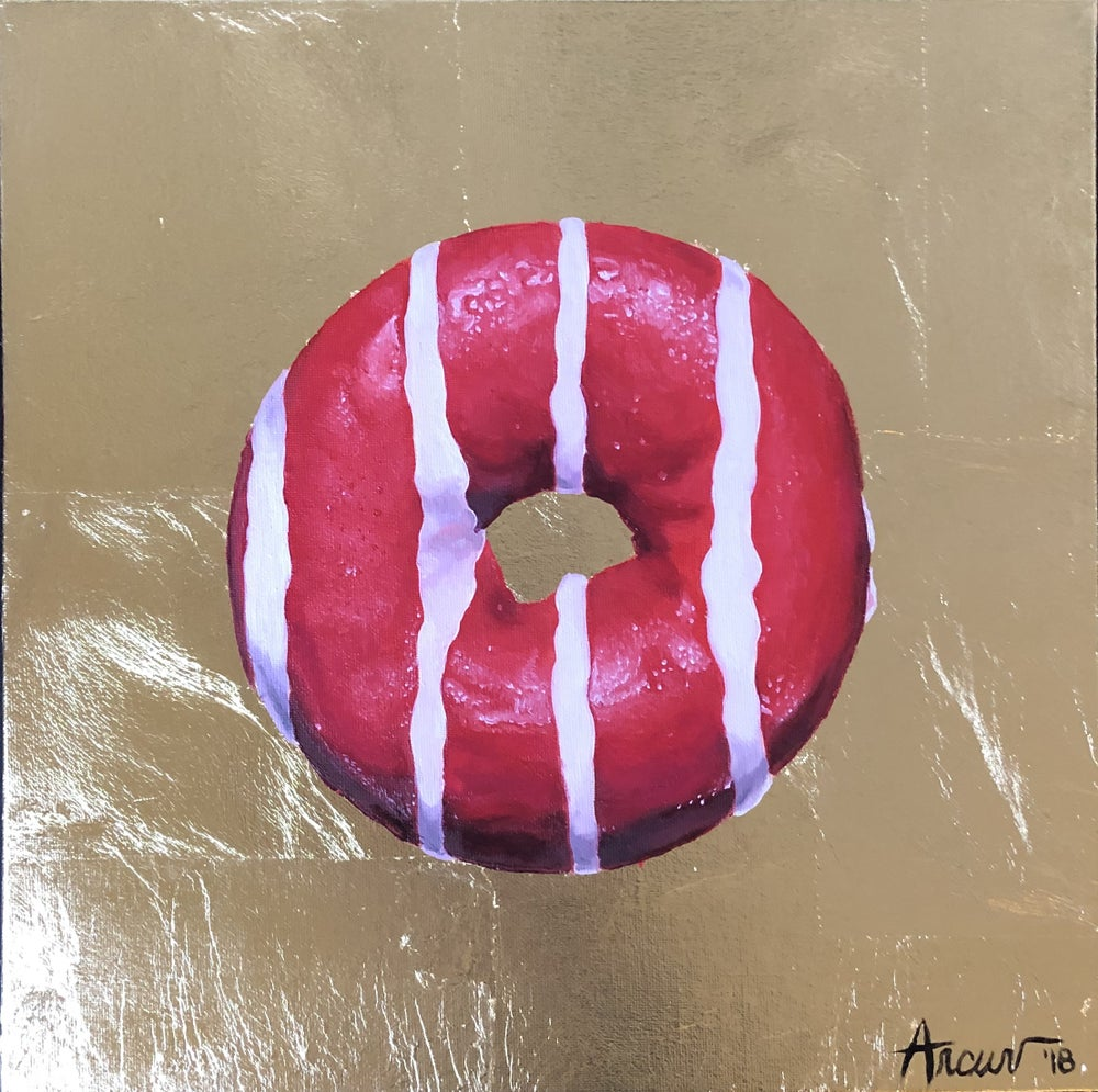 Image of Gold Pink and White Stripes Donut