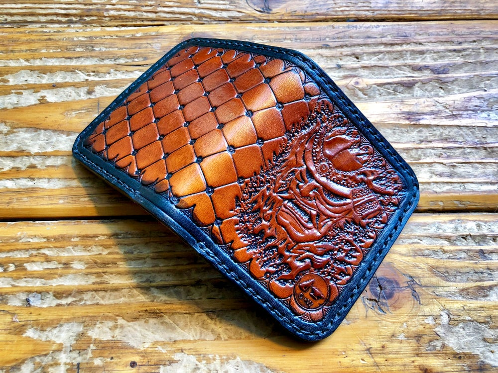 "Image of ""Miyamoto"" Custom Samurai Bi-Fold Wallet with Cash Slot and Four Card Slots."