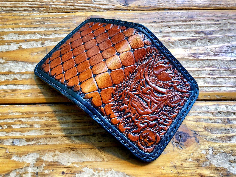 "Image of ""Miyamoto"" Custom Samurai Bi-Fold Wallet with Cash Slot and Four Card Slots."