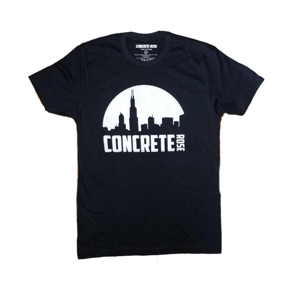 Image of Night Skyline T Shirt Blue