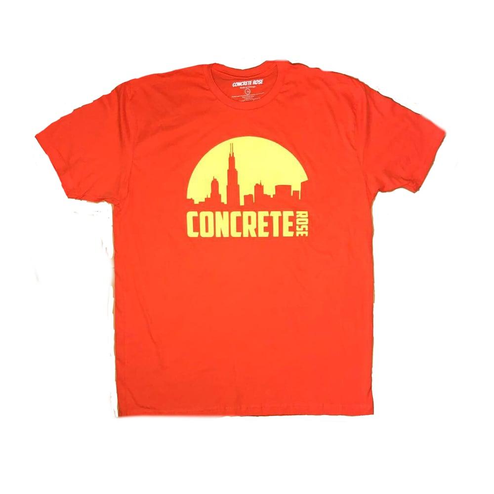 Image of Morning Skyline T Shirt Orange