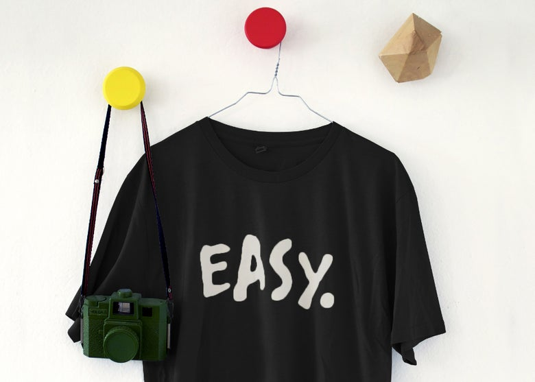 "Image of T-SHIRT | ""EASY."" Black"