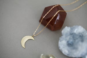 Image of crescent moon necklace (in silver or 9ct gold)