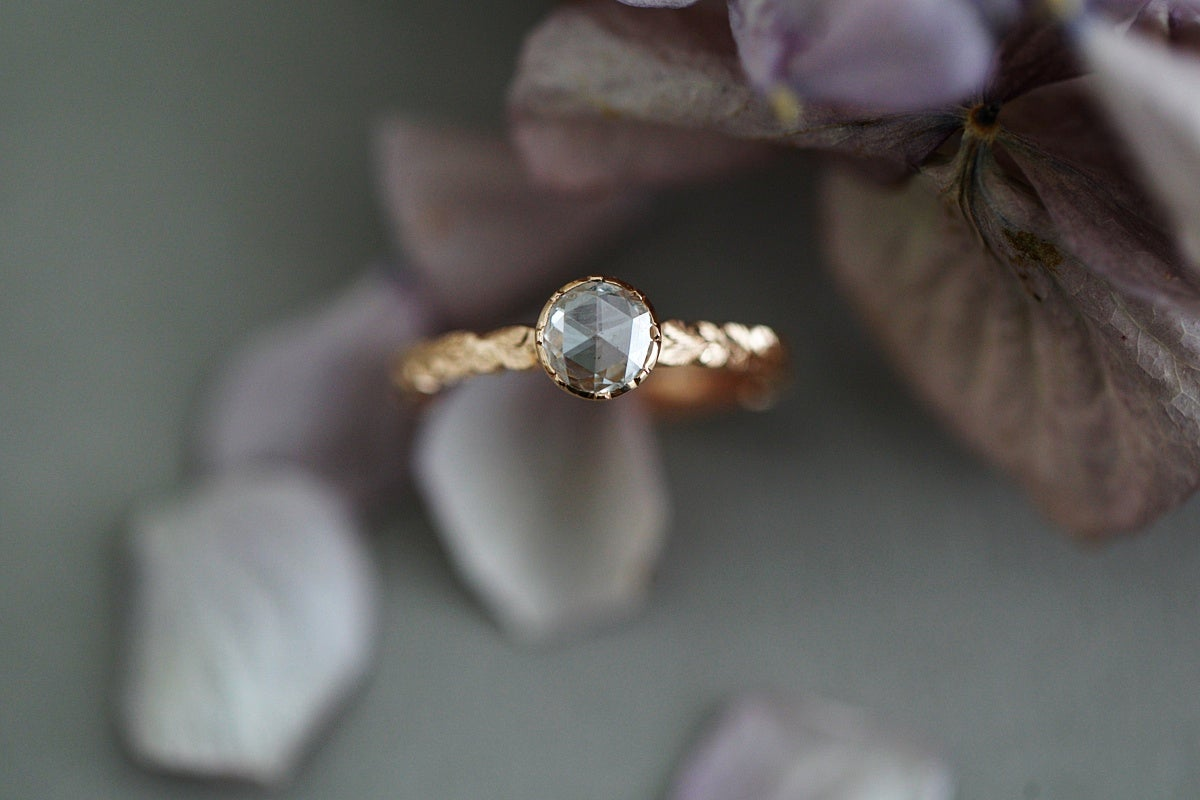 Image of *NEW* 18ct Rose Gold 5.4mm Rose cut diamond ring (IOW90)