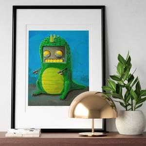 Robot in a Dino Suit Print - Matt Q. Spangler Illustration