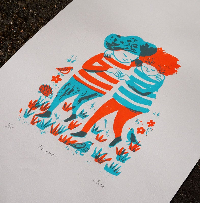 Image of Friends (Orange & Light Blue)