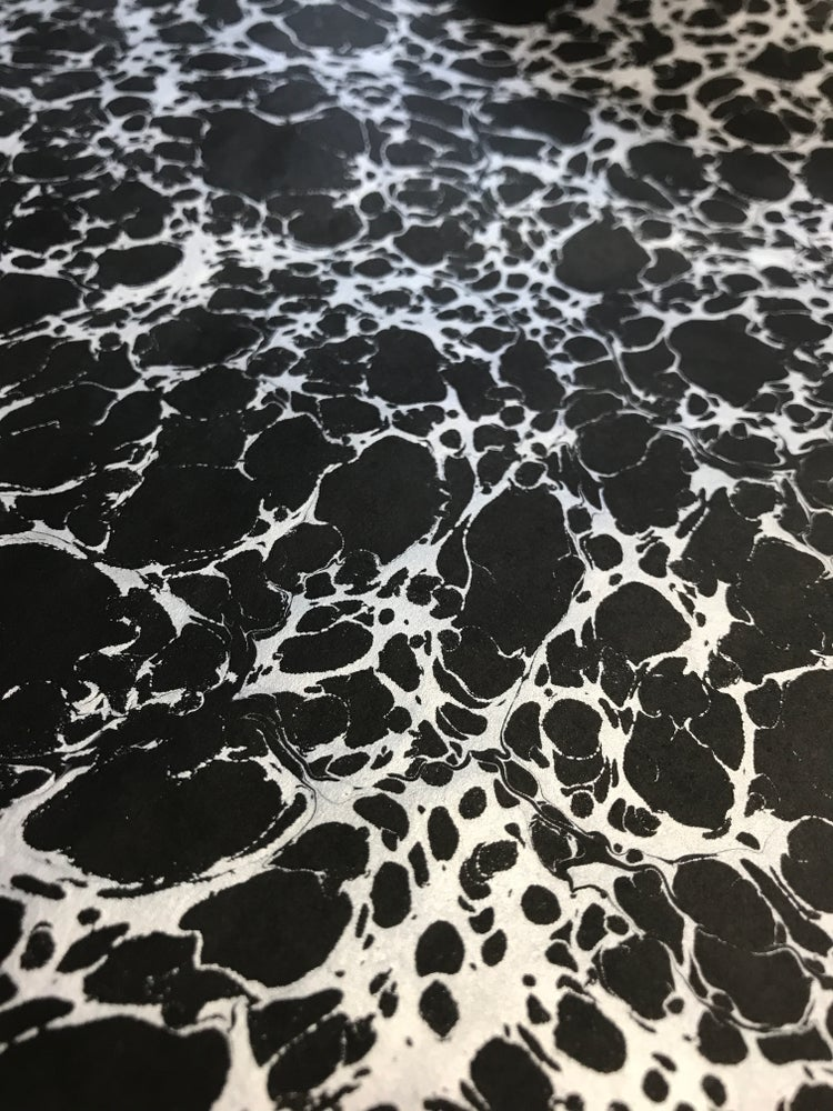 Image of Hand Marbled paper, Metallic Silver on Black paper