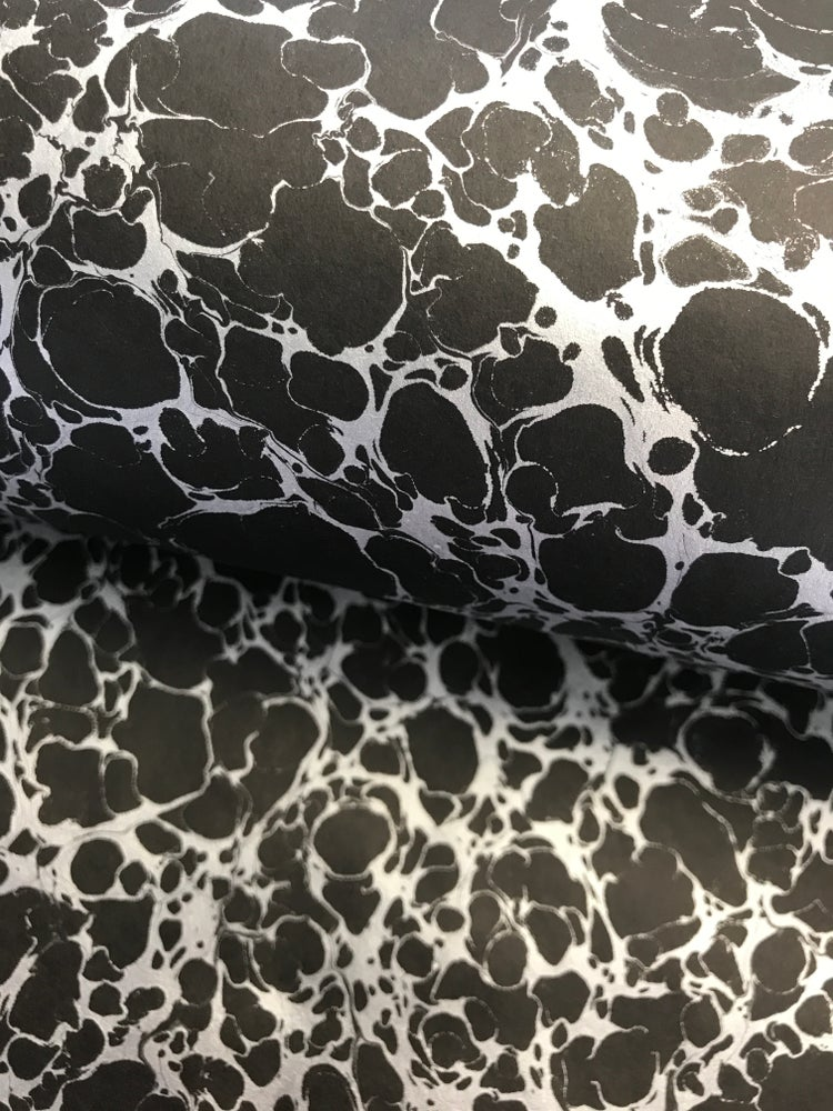 Image of Marbled paper - Special Metallics - Silver on Black