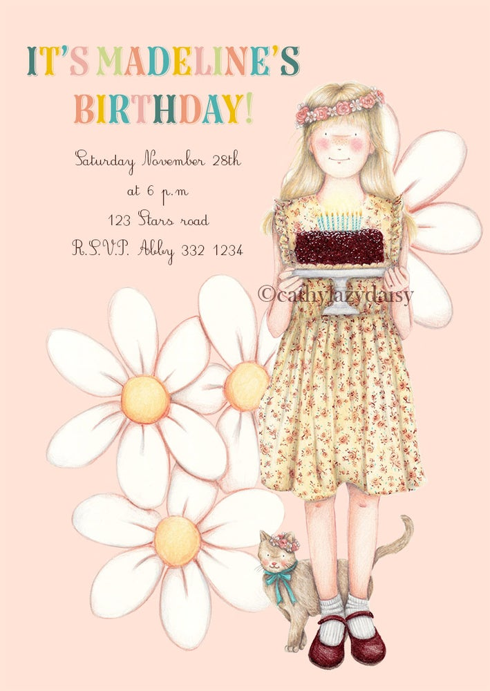 "Image of ""Girl birthday party"" invitation digital download"