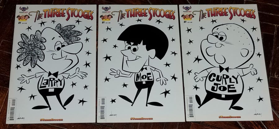 Image of THE THREE STOOGES 3-PIECE ORIGINAL ART SKETCH COVER SET! TV FUNNY MEN LARRY, MOE, and CURLY JOE!