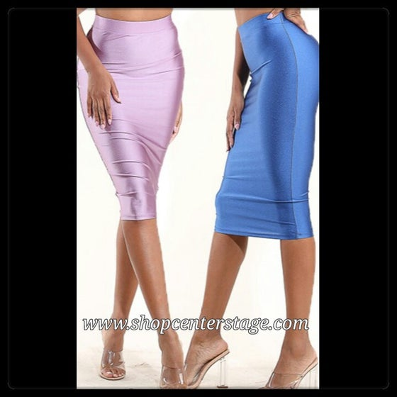 Image of Slick pencil midi skirt