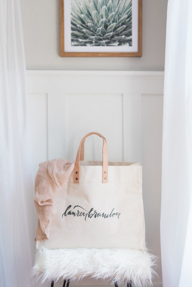 Image of PERSONALIZED HEAVYWEIGHT CANVAS TOTE WITH LEATHER STRAPS