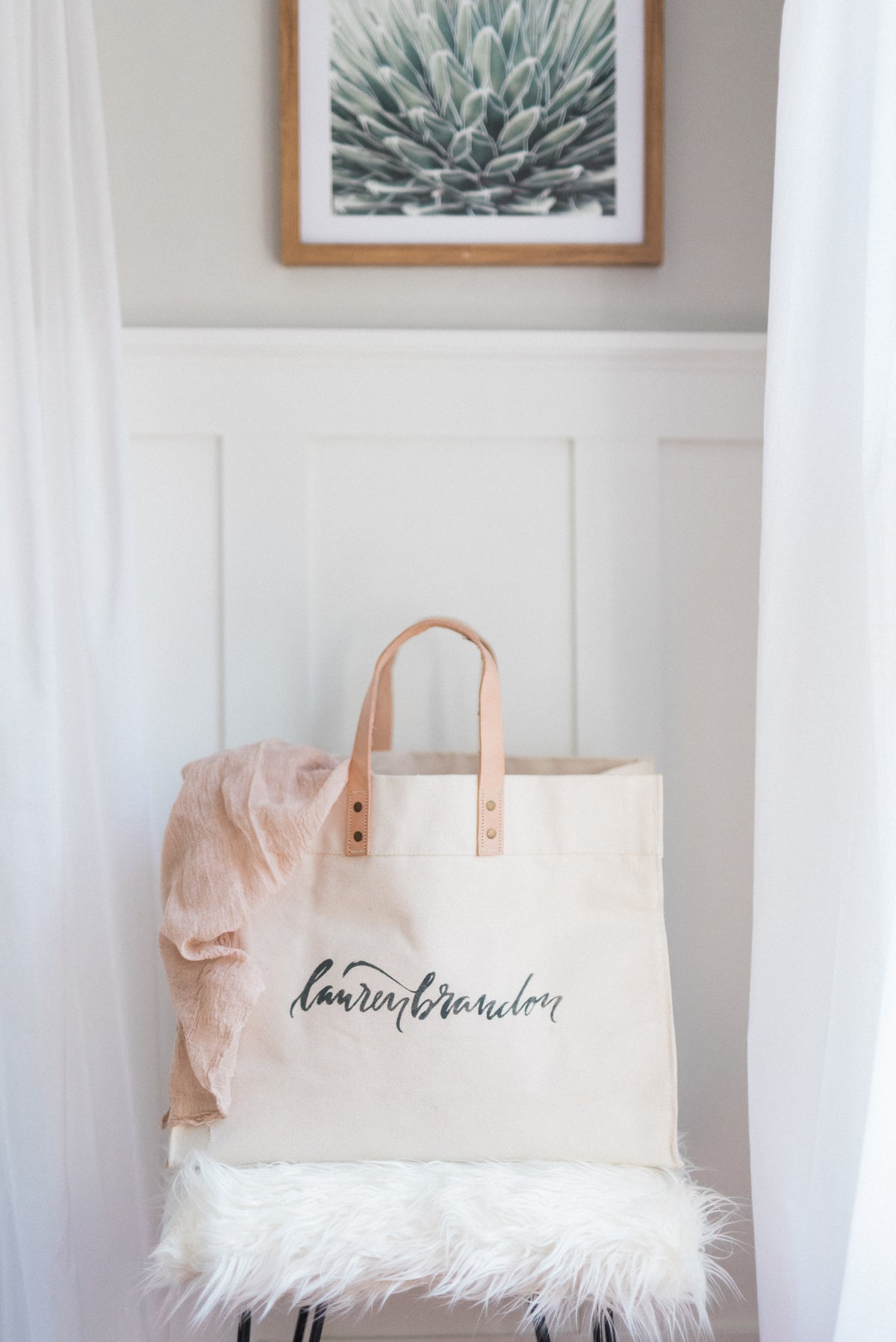 PERSONALIZED HEAVYWEIGHT CANVAS TOTE WITH LEATHER STRAPS