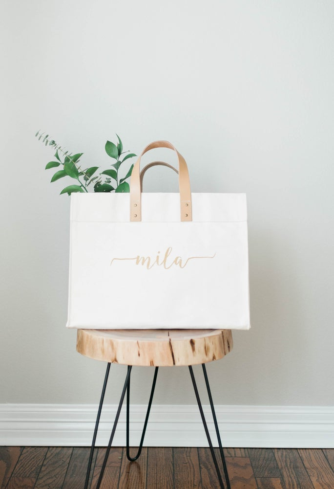 Image of GOLD CALLIGRAPHY HEAVYWEIGHT CANVAS TOTE WITH LEATHER STRAPS