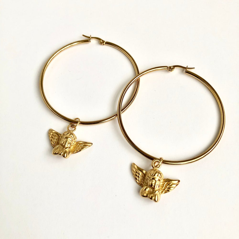 Image of GOLD CHERUB HOOP EARRINGS